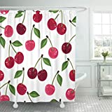 Cerise Pink Shower Curtain Emvency Shower Curtain Red Pattern Pink Fruit Cherry Green Sweet Food Maroon Shower Curtains Sets with Hooks 72 x 72 Inches Waterproof Polyester Fabric