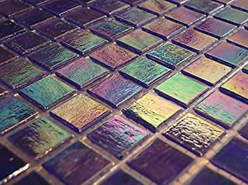 FLIESENTOPSHOP 1 Qm   Glasmosaik Fliesen Mosaik Perlmutt Effekt Blau Bad  Dusche Pool   Blau