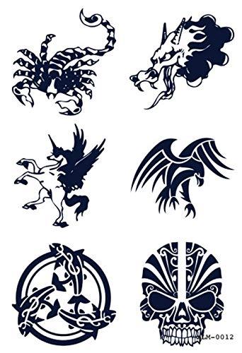 Tatuaje temporal, XLM0012, tatuaje falso, calavera, unicornio ...
