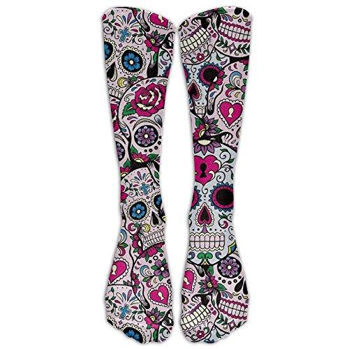 (TOP YAZU Women & Men Sugar Skull Pattern Stocking Socks Athletic Sock Long Sock All Sport Holiday One)