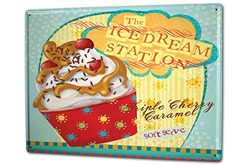 Caramel Cherry - Tin Sign XXL Kitchen Soft ice cream cherry caramel