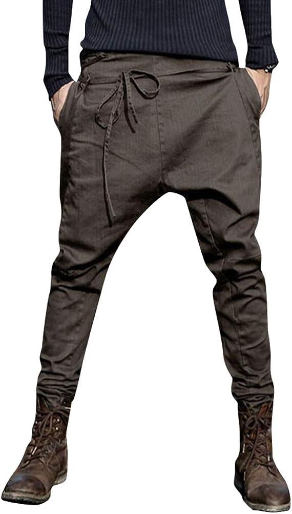 ORANDESIGNE Pantalones Hombre Verano Pantalones Sueltos Pantalón de Playa con Bolsillos Laterales Transpirable Cómodo Deportivos Casual Harem Pants