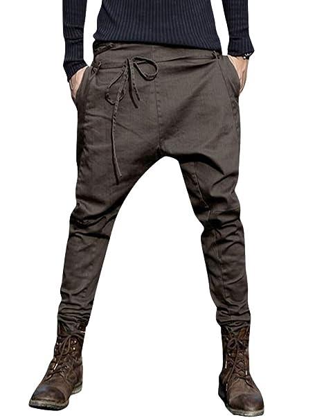 ORANDESIGNE Pantalones Hombre Verano Pantalones Sueltos Pantalón de Playa con Bolsillos Laterales Transpirable Cómodo Deportivos Casual Harem Pants: ...
