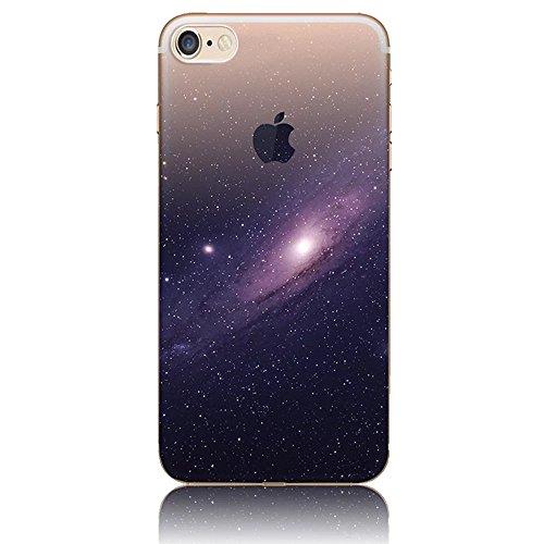 Funda para iPhone 5, Vandot TPU Silicona Pintado Funda para iPhone 5S Patrones de Pintura Case Suave Flexible Silicone Gel Paisaje Cajas de Teléfono móvil para iPhone 5 5s SE - Volcán y Estrella Cielo FJTPU 08