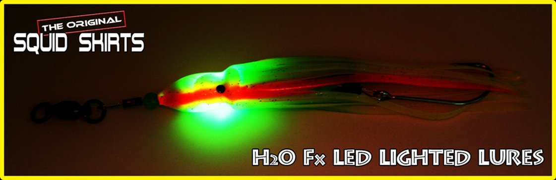 H2O Fx LED Lighted Lure The Original Squid Skirts Orange /& Yellow