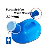 1 Pack Male Urinal Portable 2000ML Child Male Travel Pee Urinal Potty Bottle Drainage Container Truckers Bed Bedding Plastic Toilet (blue)