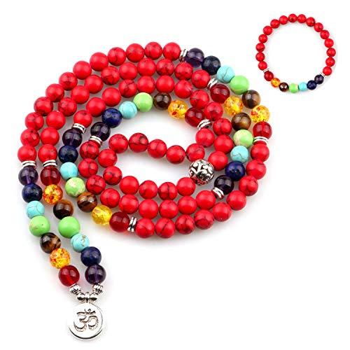 GVUSMIL 7 Chakra 108 Mala Beads Wrap Bracelets for Yoga Charm Natural Gemstone 8mm Turquoise (7 Chakra Red - Sport Pendant Turquoise