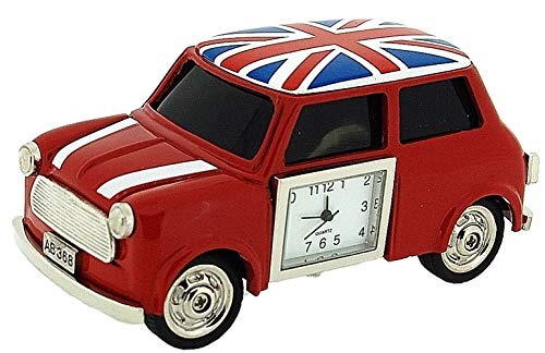 (Miniature Union Jack British Red Mini Cooper Novelty Collectors Clock 0445)
