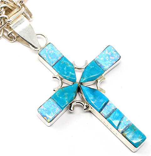 Reversible Turquoise Cross (L7 Enterprises Navajo Channel Inlay Reversible Turquoise Cross Pendant By Yazzie)