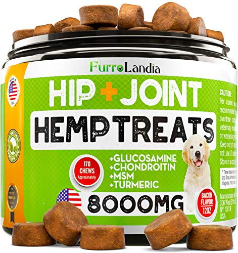 FurroLandia-Hemp-Hip-Joint-Supplement-for-Dogs-170-Soft-Chews-Made-in-USA-Glucosamine-for-Dogs-Chondroitin-MSM-Turmeric-Hemp-Seed-Oil-Natural-Pain-Relief-Mobility