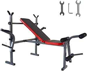 PreAsion Folding Standard Weight Bench Press Set for Workout Bench Gym Home Exercise Lift Muscles Fitness