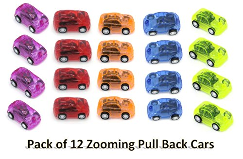 Mini Pull Back and Let Go Fast Racing Car - Pack of 12 - 2 Assorted Colors Racer Vehicles - AMAZING Gift idea!