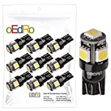 oEdRo White T10 LED 194 168 2825 W5W 5 SMD Car Light Bulbs for Interior Dome Map Dashboard Trunk Lamp License Plate Lights (Pack of 10)