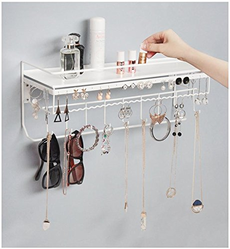 JackCubeDesign Wall Mounted Classic White Iron Designer Made Cosmetics Storage Shelf w/Necklace Jewelry Organizer Shelf Earrings Holder – :MK238B