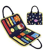 Toddler Busy Board Basic Skills Toddler Activity Board for Toddler Learning Dress, Educational Learning Toys Montessori Toys Bag Designed Enlighten Toy for Infants, Boys and Girls