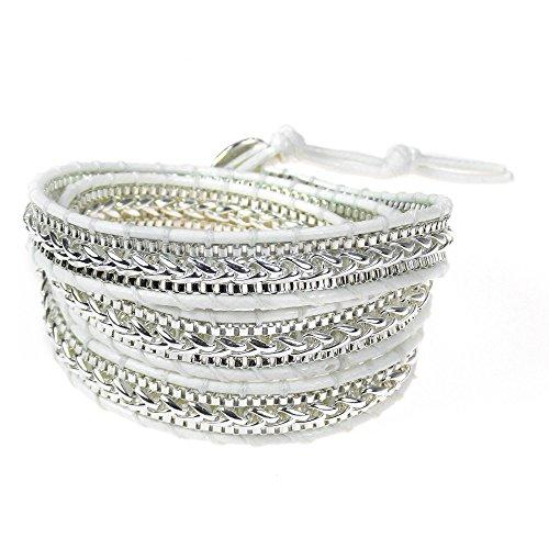 Triple Chain Rope (AeraVida Rocking White Metal Chain Triple Cotton Snake Cord Rope Wrap Bracelet)