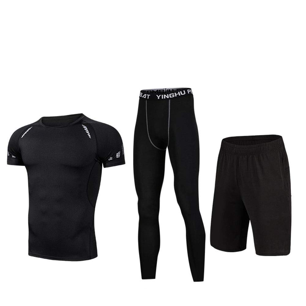 Wuxingqing Gym Wear Fitness Bekleidung Set 3pcs Mens Sports Fitness Workout Set mit Kompressionshosen, Kompressions-Kurzarm-T-Shirt, Shorts (Color : Black, Size : XL)