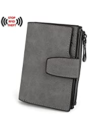 UTO Women's RFID Blocking PU Matte Leather Large Capacity Girls Wallet Card Holder Organizer with Snap Closure