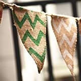 2.8M/3 Yard Chevron Natural Hessian Burlap Banner Wedding Party Decorations Bunting Banner
