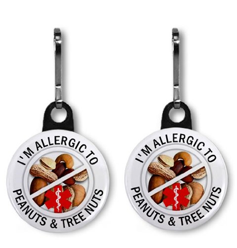 allergic-to-peanuts-tree-nuts-medical-alert-pair-of-1-inch-black-zipper-pull-charms