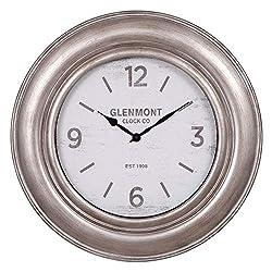 30 Glenmont Wide Silver Framed Wall Clock