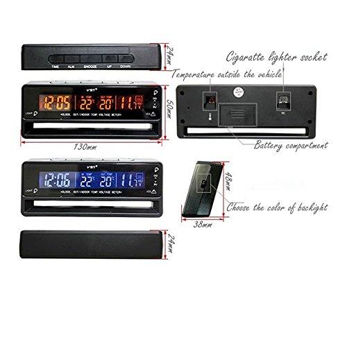 Flameer Digital Clock Temperature Meter Thermometer Car Volt Measuring TS-7010V by Flameer (Image #2)