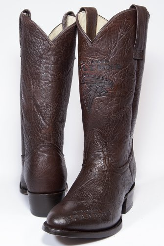 NFL Atlanta Falcons Men's Traditional Toe Western Boot, Brown, 9 by Old Pro Leathers