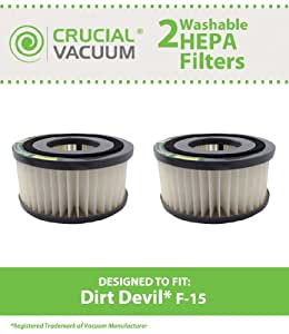 2 Highly Durable Washable & Reusable Dirt Devil Style F15 HEPA Filters; Compare to Dirt Devil Part Nos. 1SS0150000, 3SS0150001; Designed & Engineered by Think Crucial