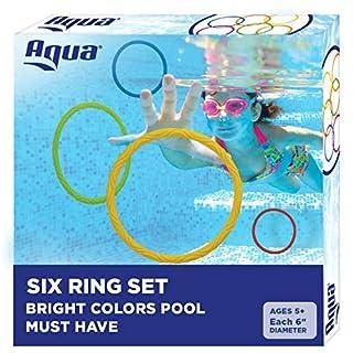 Aqua Classic Dive Rings, 6 Pack, Pool Toys for Kids, Toddlers, Teens, Pool Game, EZ Grab Large Diameter Swim Diving Rings, Red (AQT4953)