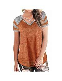 WOCACHI Women Blouse Women's Casual Short Sleeved Patchwork V-Neck T-Shirt Tops