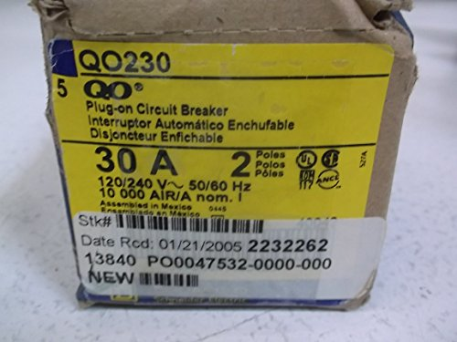 Square D QO230 Miniature Circuit Breaker, 120/240 VAC, 30 A, 10 kA Interrupt, 2 Poles, Thermal Magnetic Trip