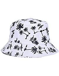 TONSEE Fashion Graffiti Flat Bucket Hat with Coconut Tree Pattern Outdoor Hat