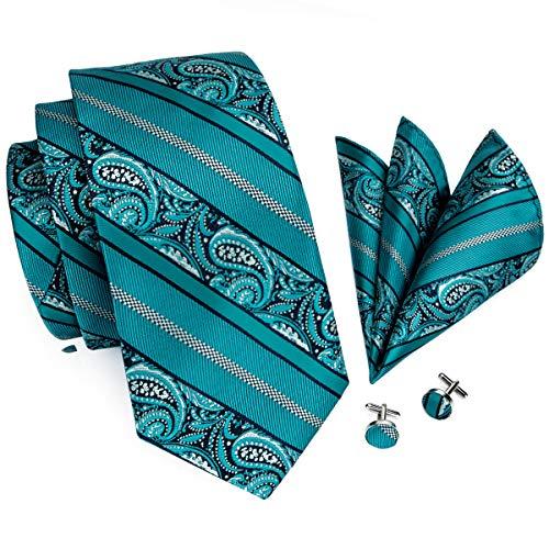 (Hi-Tie Men Teal Paisley Tie Handkerchief Cufflinks Tie Set)