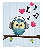 Chaoran 1 Fleece Blanket on Amazon Super Silky Soft All Season Super Plush Music Decor Collection Cute Cartoon Owl with Headphones Hearts Leaves Fashion Playful Jolly Fun Image Fabric et Pink