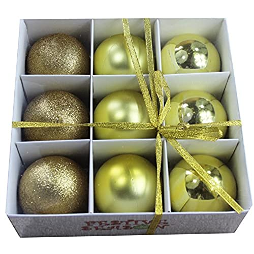 festive season gold shatterproof christmas balls ornaments tree decorations set of 9 80mm