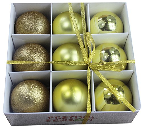 Festive Season Gold Shatterproof Christmas Balls Ornaments, Tree Decorations (Set of 9, 80mm) - Traditional Round Ball