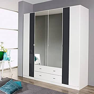 Schrank Kleiderschrank weiss Wäscheschrank Spiegelschrank Holz ein Schubfach neu