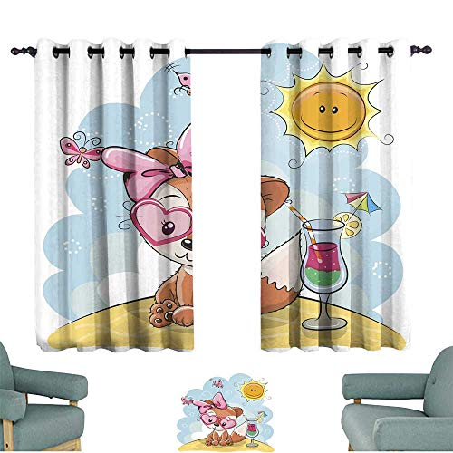 YOFUHOME Privacy Curtain Fox on The Beach 70%-80% Light Shading, 2 Panels,55