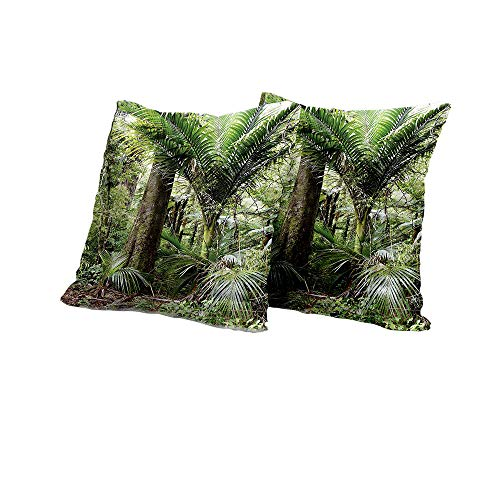 All of better futon Cushion Cover Forest,Lush Foliage Tropical Jungle South American Growth Untouched Nature Vegetation,Green Brown Decorative Pillow Covers 16x16 INCH ()