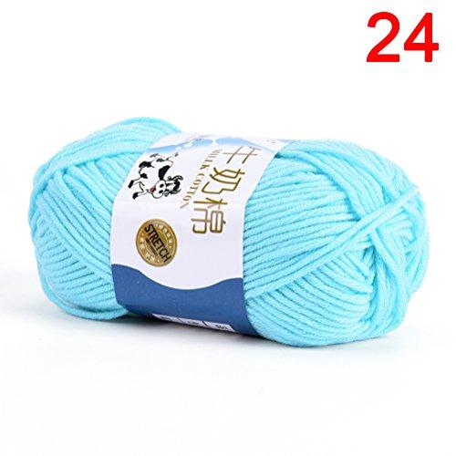 - TUANTUAN 1 Lot Multicolor Milk Cotton Yarn Cotton Chunky Hand-woven Crochet Knitting Wool Yarn Warm & Soft Yarn for Sweaters Hats Scarves DIY,Light Sea Blue