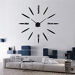 DIY 3D Wall Clock Modern Large Home Decor Sticker Frameless Black Mirror For Office Living Room Bedroom Kitchen Bar Bullet Clock Plate