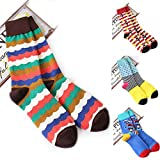Yeke 4Pairs/lot Couple Socks Womens Girls casual Cotton Colourful Mens socks (L)