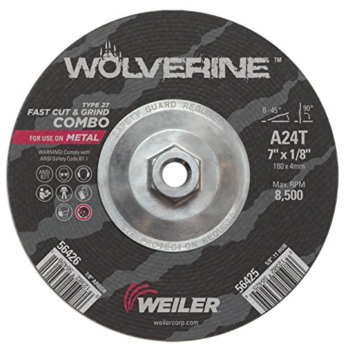 - Weiler 56425 Wolverine Type 27 Cut and Grind Combo Wheel, A24T, 5/8