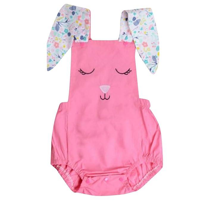 Berimaterry Monos recién Nacidos Ropa para bebé Unisex Verano Mameluco Sin Mangas Orejas de Conejo Peleles para bebés Ropa arrastrada para niños niña ...