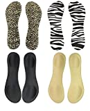 Happystep 3/4 Length Thin Shoes Insoles for High-Heels and Sandals, Cushion for Heel and Ball of Foot, Black, Beige, Zebra and Leopard 1 Pair Each (Women Size 5-7)