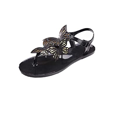 09039ea3f7c887 Women Sandals Womens Summer Butterfly Round Toe Brief Hasp Flat Sandals  Bohemian Beaded Ankle Strap Slippers