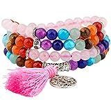 rockcloud 108 Stones Tibetan Mala Bracelet Necklace 7 Chakra Beads Buddhist Prayer Meditation Healing Crystal,Rose Quartz