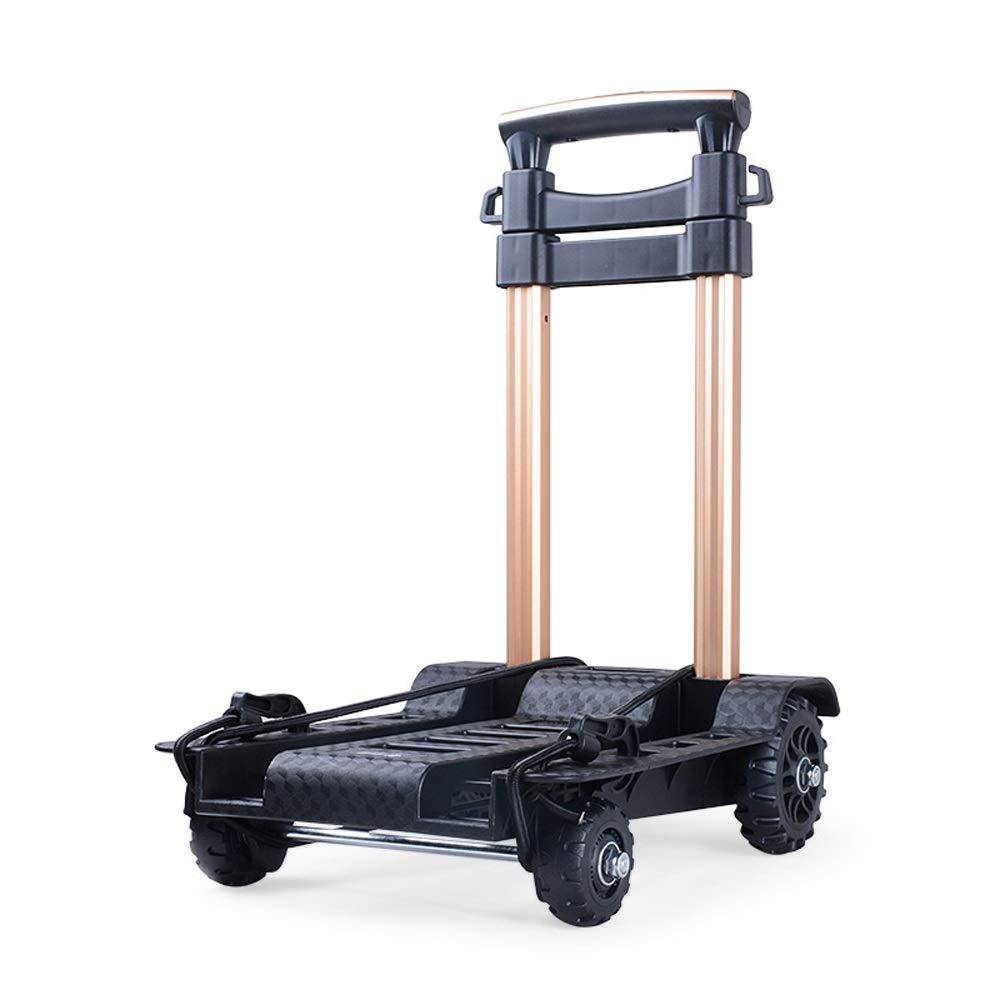 LI MING SHOP 食料品の買い物の携帯用小さいカートの家のアルミ合金のトロリー買物車の四輪荷物のカート   B07Q9M195K