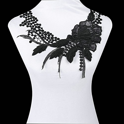 Black Rose Embroidery Beautiful Lace Collar Hollow Out Chest Lace Decoration Fabric for Sewing Supplies Crafts