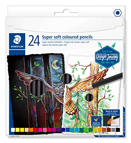STAEDTLER ST Colouring Pencils Soft Classic Hexagonal Format Super Soft Lead High Opacity on Light and Dark Paper Cardboard Case with 24 Bright Colours 149C C24 Multicoloured (Staedtler Arco Compass Set)